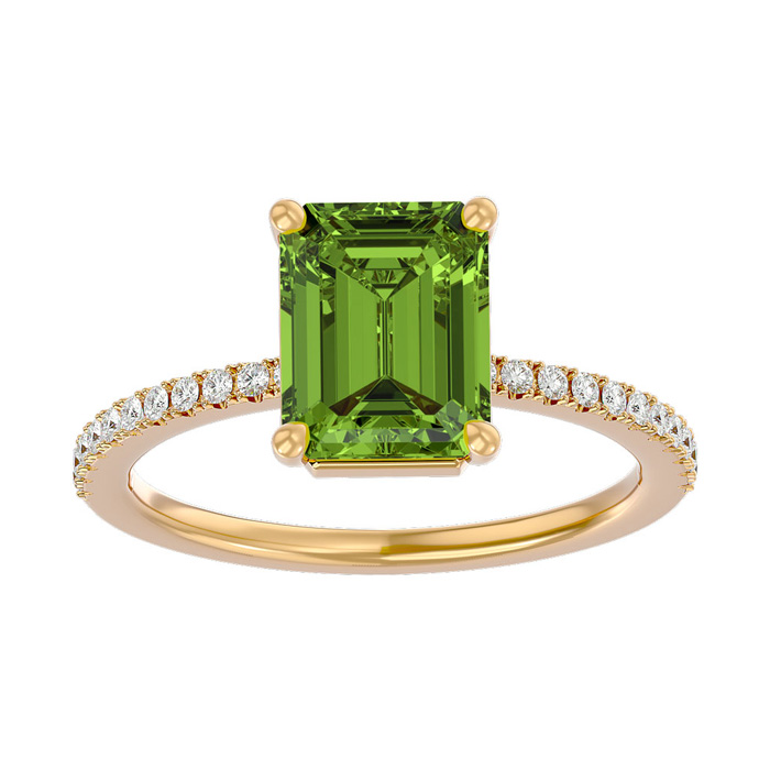 2 Carat Peridot & Diamond Ring in 14K Yellow Gold (2.6 g), I/J by