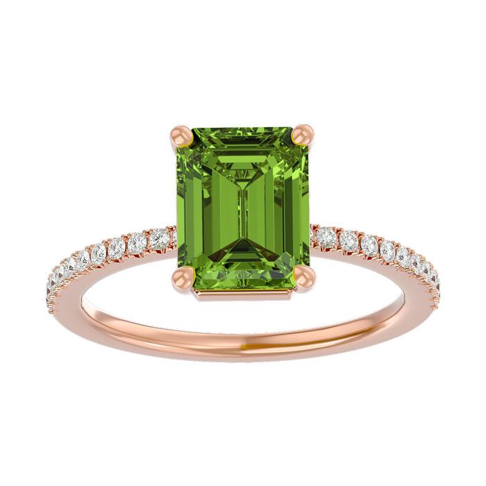 2 Carat Peridot & Diamond Ring in 14K Rose Gold (2.6 g), I/J by S