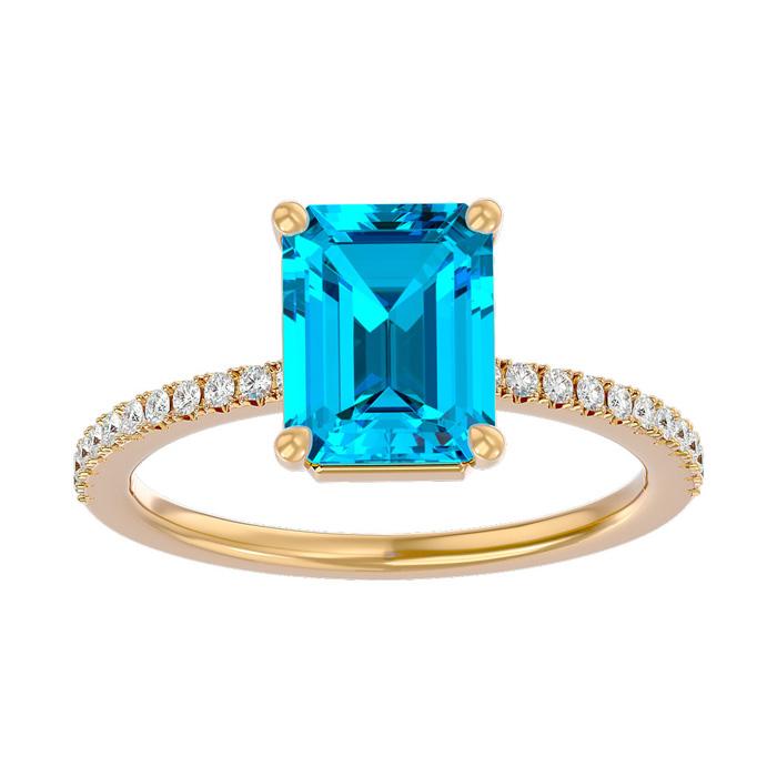 2 Carat Blue Topaz & Diamond Ring in 14K Yellow Gold (2.6 g), I/J