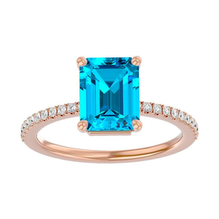 2 Carat Blue Topaz & Diamond Ring in 14K Rose Gold (2.6 g), I/J b