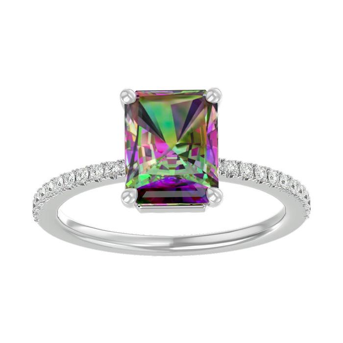 1.5 Carat Mystic Topaz & Diamond Ring in 14K White Gold (2.6 g),