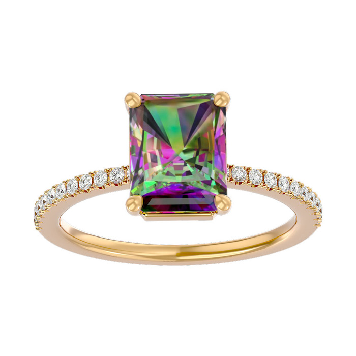 1.5 Carat Mystic Topaz & Diamond Ring in 14K Yellow Gold (2.6 g),