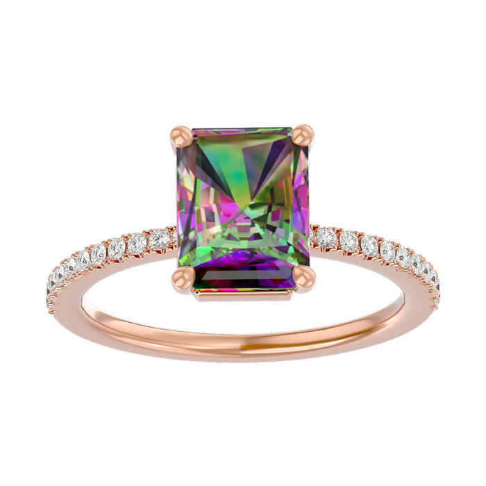 1.5 Carat Mystic Topaz & Diamond Ring in 14K Rose Gold (2.6 g), I
