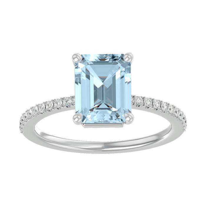 1 1/2 Carat Emerald Shape Aquamarine and Diamond Ring In 14 Karat White Gold