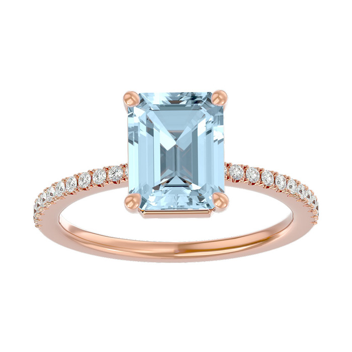 1 1/2 Carat Emerald Shape Aquamarine and Diamond Ring In 14 Karat Rose Gold