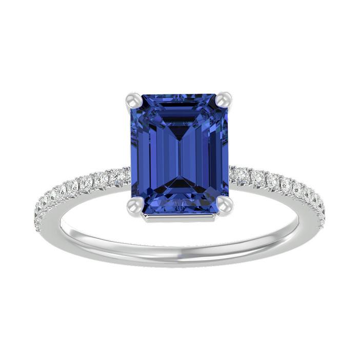 2 Carat Tanzanite & Diamond Ring in 14K White Gold (2.6 g), I/J b