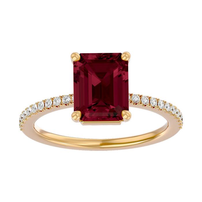 2 Carat Garnet & Diamond Ring in 14K Yellow Gold (2.6 g), I/J by
