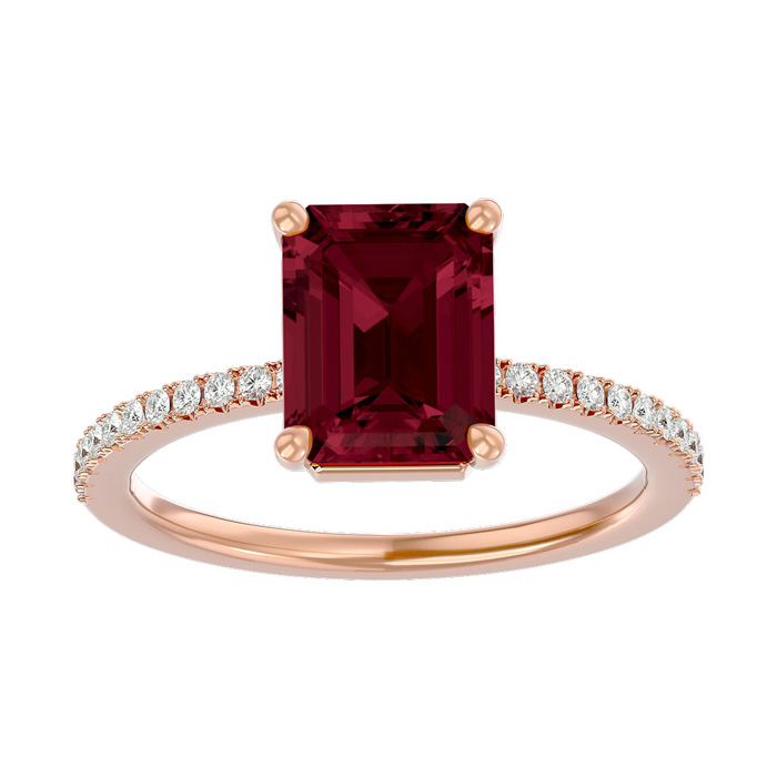 2 Carat Garnet & Diamond Ring in 14K Rose Gold (2.6 g), I/J by Su