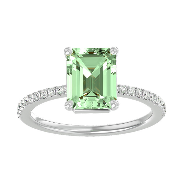 1 1/2 Carat Emerald Shape Green Amethyst and Diamond Ring In 14 Karat White Gold