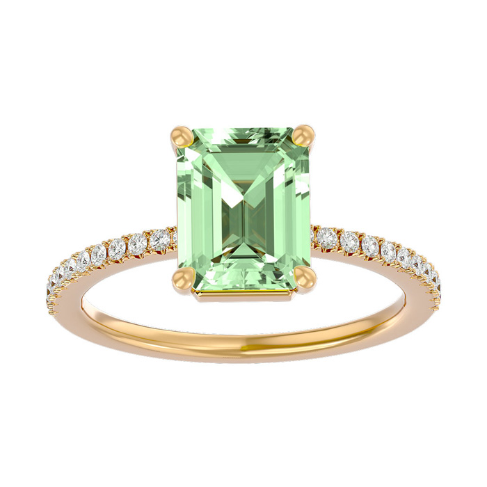 1 1/2 Carat Emerald Shape Green Amethyst and Diamond Ring In 14 Karat Yellow Gold