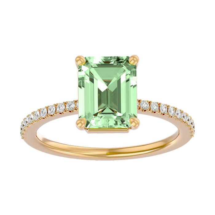 1.5 Carat Green Amethyst & Diamond Ring in 14K Yellow Gold (2.6 g