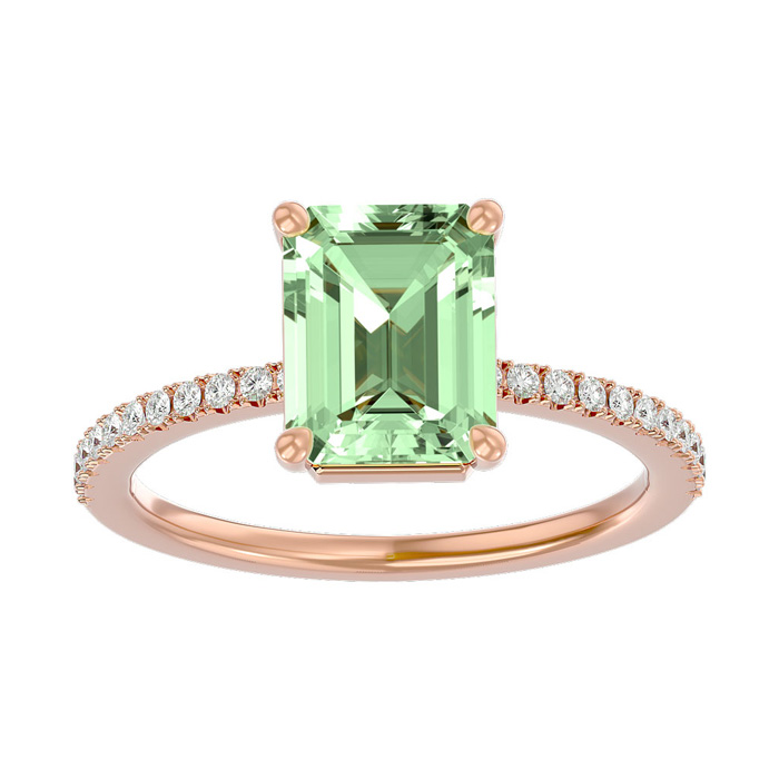 1 1/2 Carat Emerald Shape Green Amethyst and Diamond Ring In 14 Karat Rose Gold