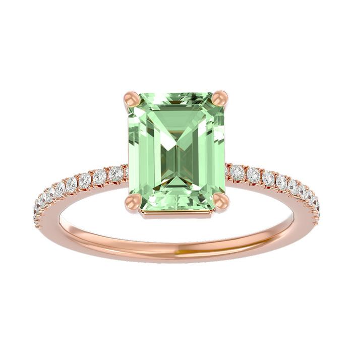 1 1/2 Carat Emerald Shape Green Amethyst and Diamond Ring In 14 Karat Rose Gold
