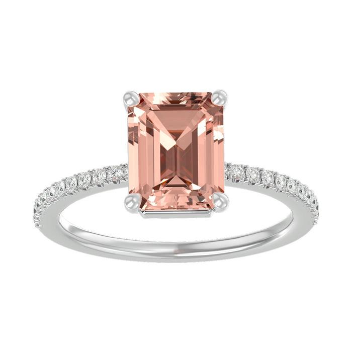 1.5 Carat Morganite & Diamond Ring in 14K White Gold (2.6 g), I/J by SuperJeweler