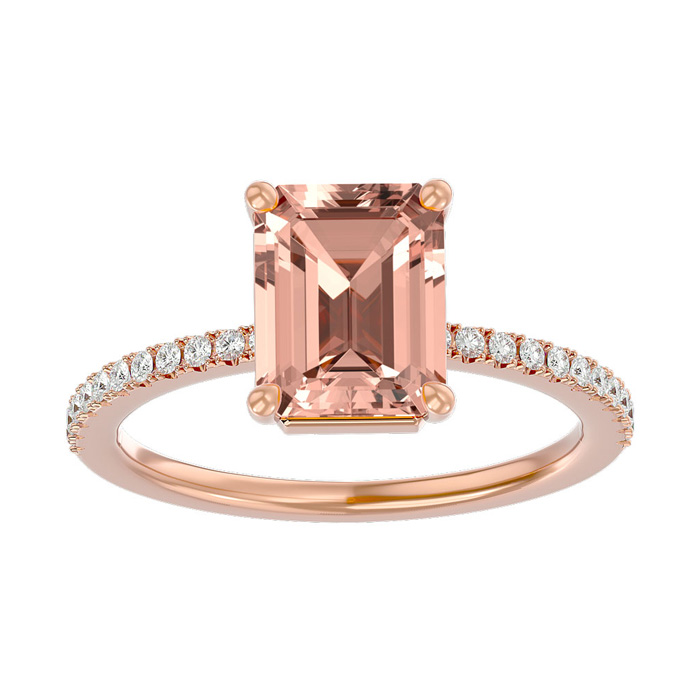 1.5 Carat Morganite & Diamond Ring in 14K Rose Gold (2.6 g), I/J