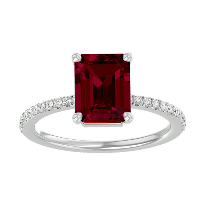 2 1/3 Carat Ruby & Diamond Ring in 14K White Gold (2.6 g), I/J by SuperJeweler