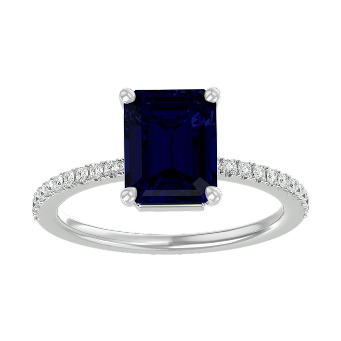 2.5 Carat Sapphire & Diamond Ring in 14K White Gold (2.6 g), I/J