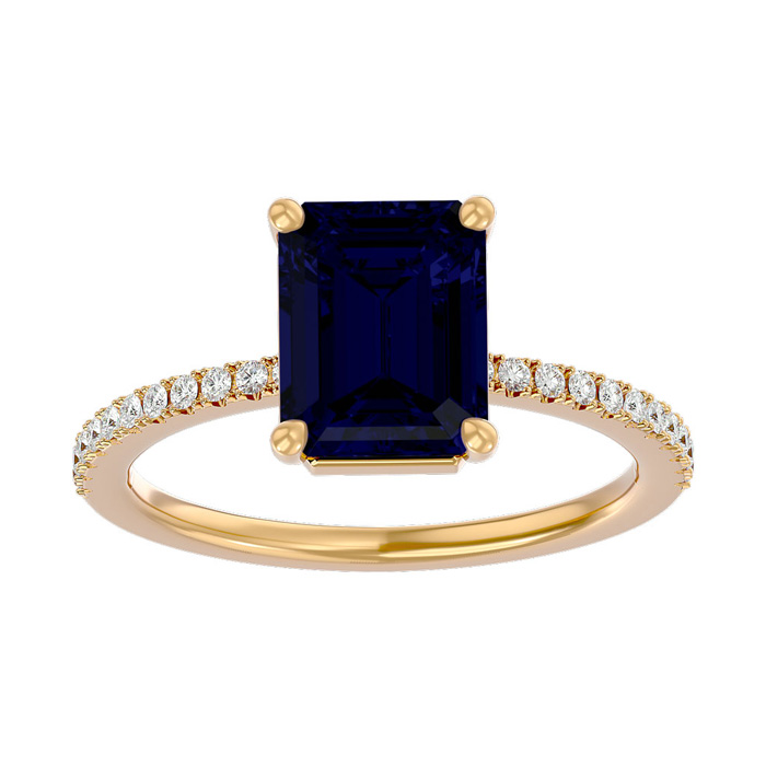 2.5 Carat Sapphire & Diamond Ring in 14K Yellow Gold (2.6 g), I/J