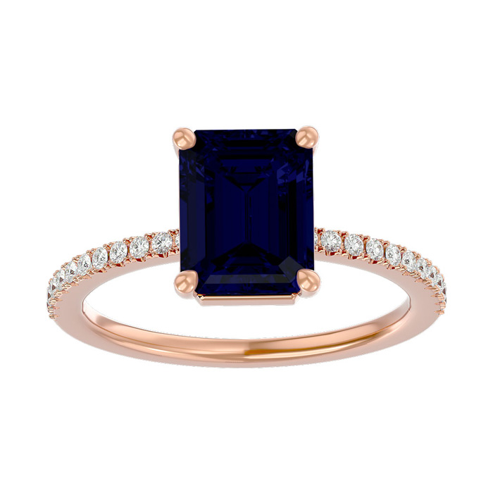 2.5 Carat Sapphire & Diamond Ring in 14K Rose Gold (2.6 g), I/J by SuperJeweler