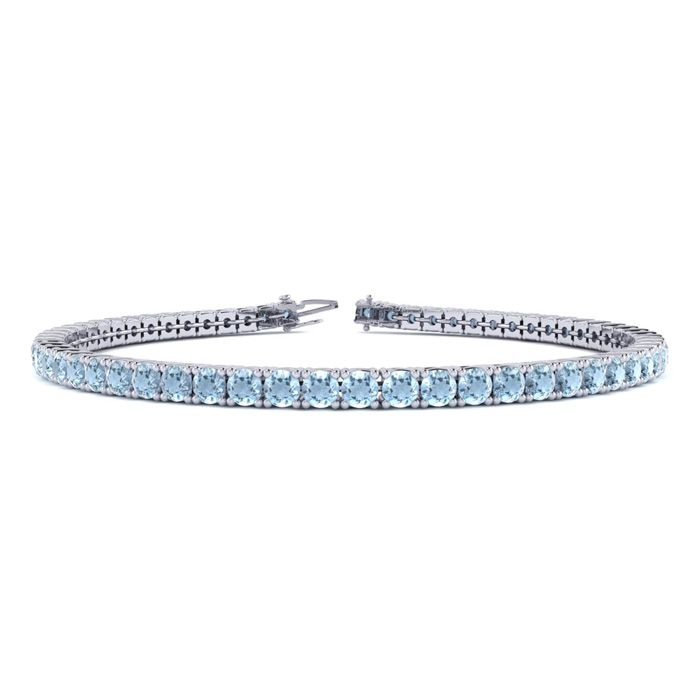 7.5 Inch 4 1/4 Carat Aquamarine Tennis Bracelet in 14K White Gold