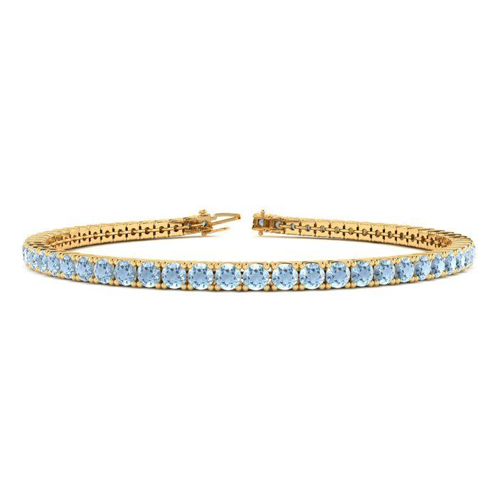6 Inch 3 1/2 Carat Aquamarine Tennis Bracelet in 14K Yellow Gold
