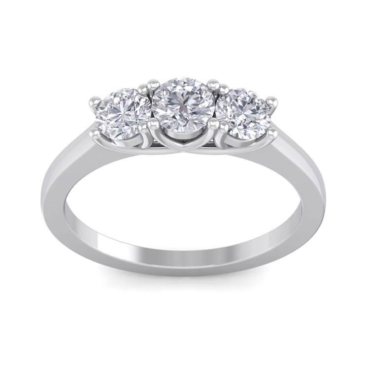 1 Carat Three Diamond Engagement Ring in 14k White Gold (4.5 g),
