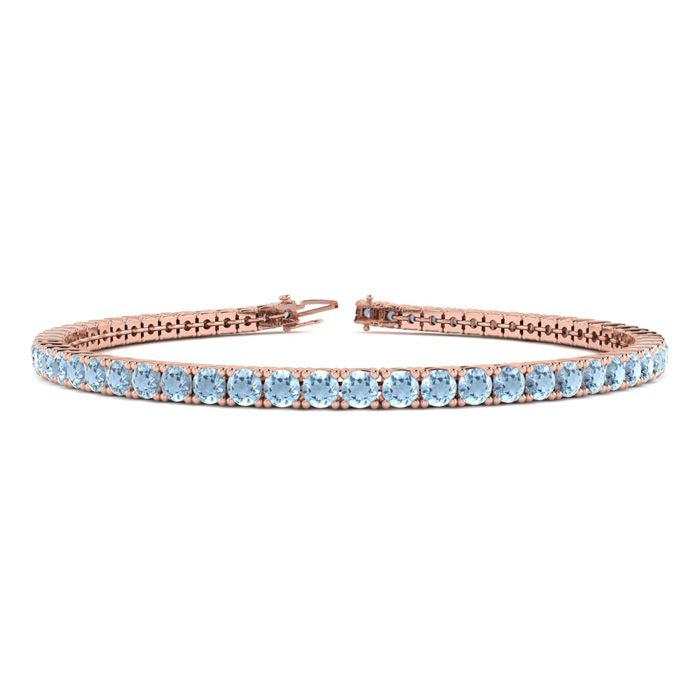 7.5 Inch 4 1/4 Carat Aquamarine Tennis Bracelet in 14K Rose Gold (10.1 g) by SuperJeweler