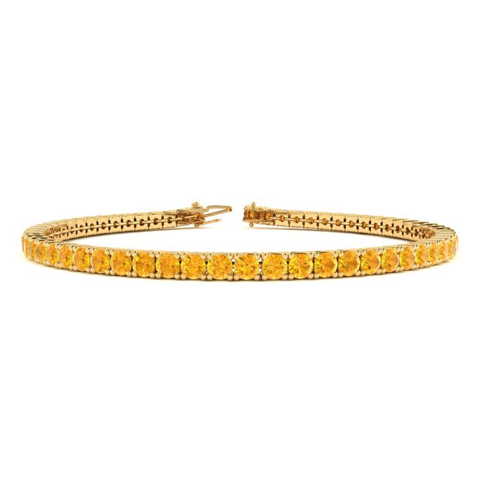 7 Inch 4 Carat Citrine Tennis Bracelet in 14K Yellow Gold (9.4 g)