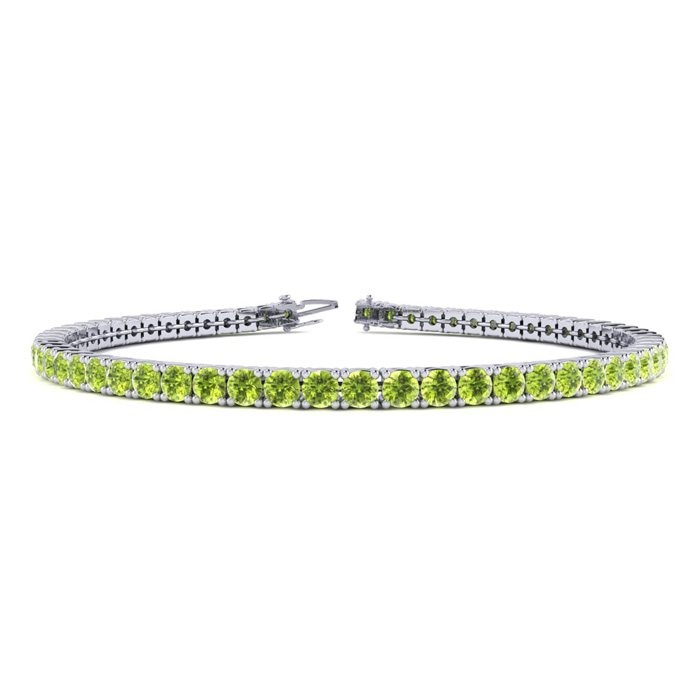 3 1/2 Carat Peridot Tennis Bracelet in 10K White Gold (7.7 g), 6