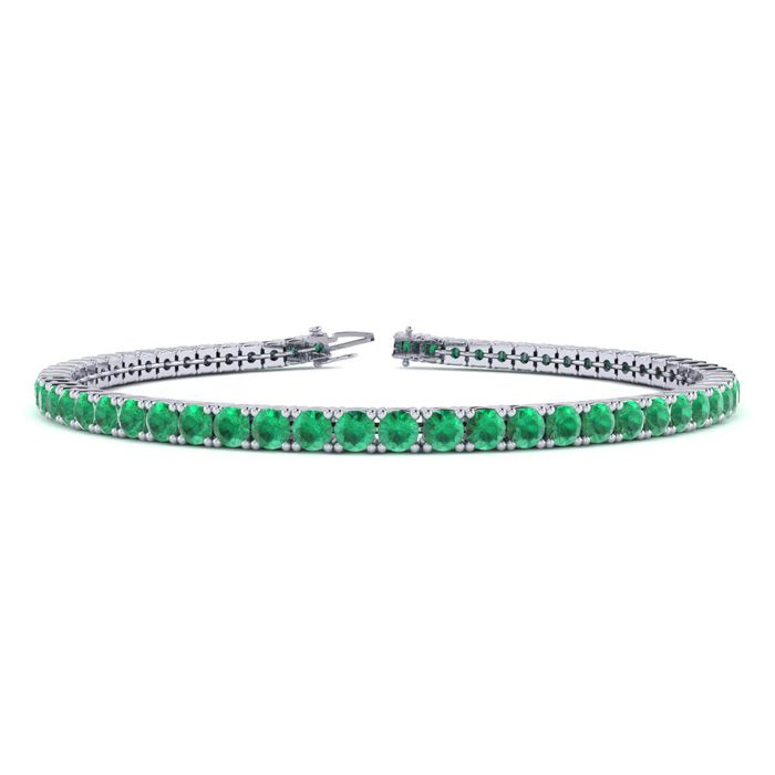 6.5 Inch 4 1/4 Carat Emerald Tennis Bracelet in 14K White Gold (8