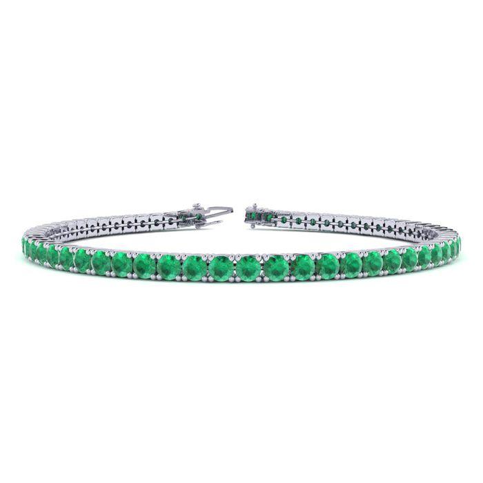 8.5 Inch 5 1/2 Carat Emerald Tennis Bracelet in 14K White Gold (1