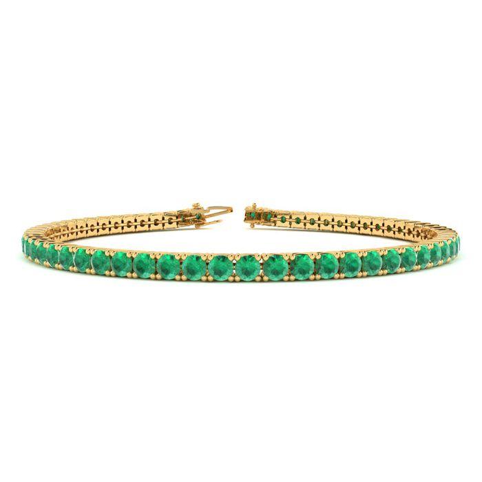 7 Inch 4 1/2 Carat Emerald Tennis Bracelet in 14K Yellow Gold (9.4 g) by SuperJeweler