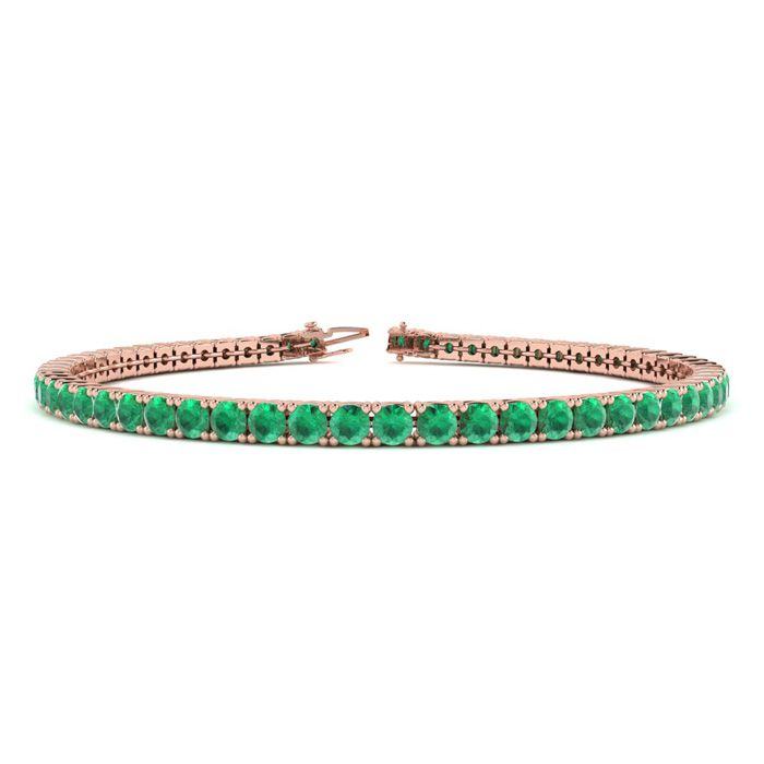 6 Inch 4 Carat Emerald Tennis Bracelet in 14K Rose Gold (8.1 g) b