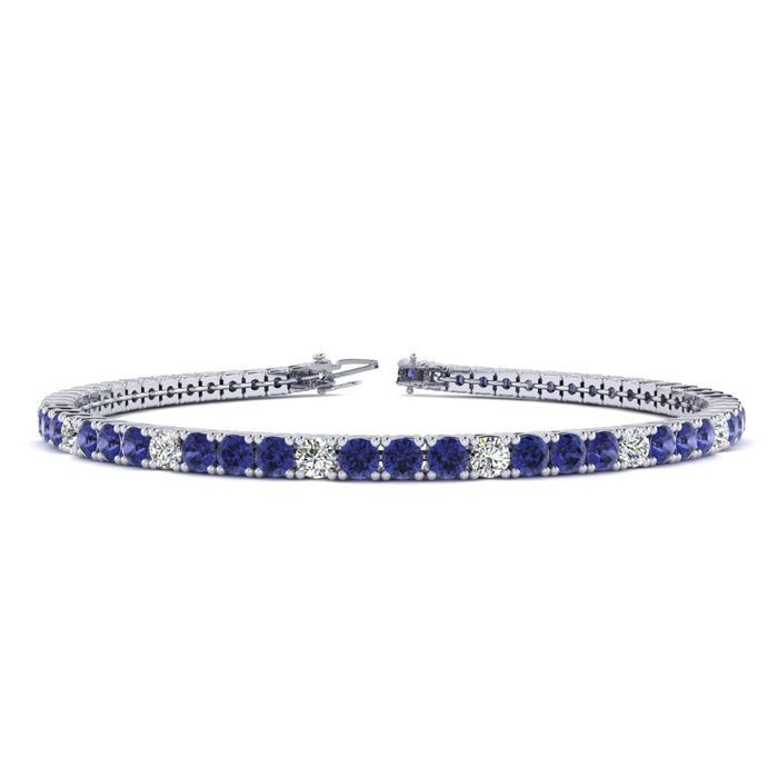 6 Inch 1 3/4 Carat Tanzanite And Diamond Alternating Tennis Bracelet In 10K White Gold 26185