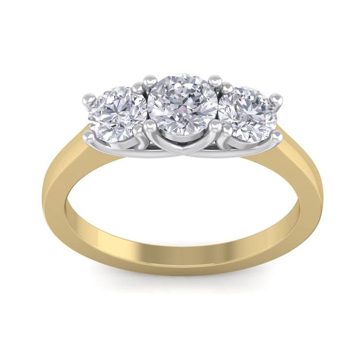 1.5 Carat Trellis Motif Three Diamond Engagement Ring in 14k Two