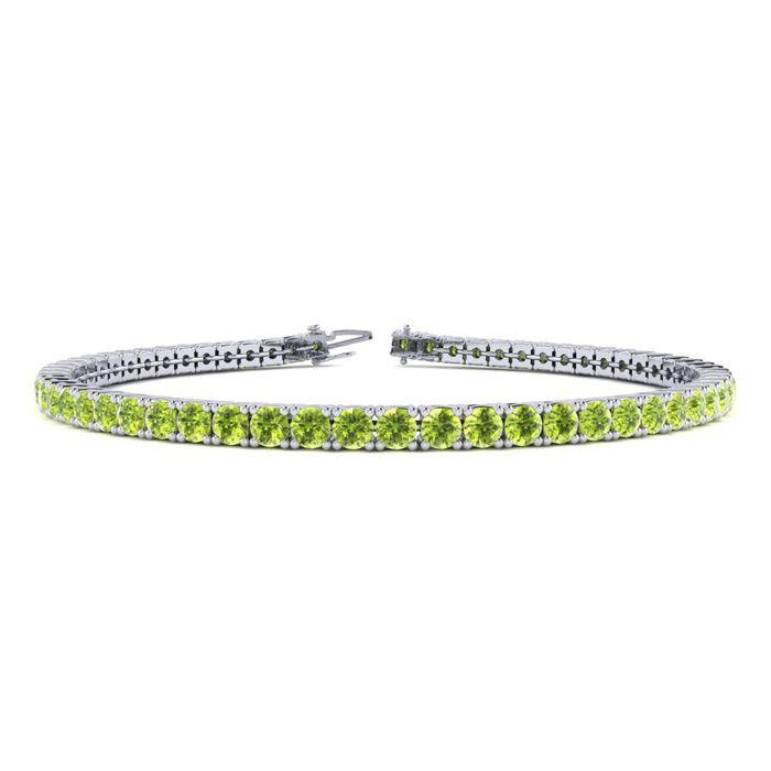 9 Inch 5 Carat Peridot Tennis Bracelet in 14K White Gold (12.1 g)