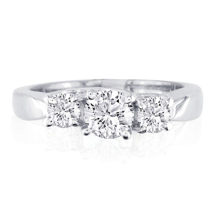 Very Fine 2 Carat Trellis Style Engagement Ring in 14k White Gold
