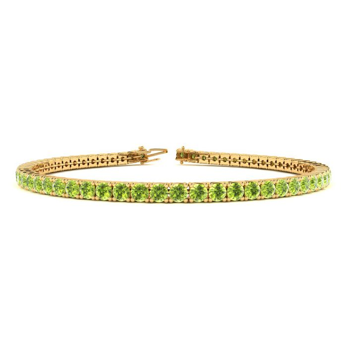 7 Inch 4 Carat Peridot Tennis Bracelet in 14K Yellow Gold (9.4 g)