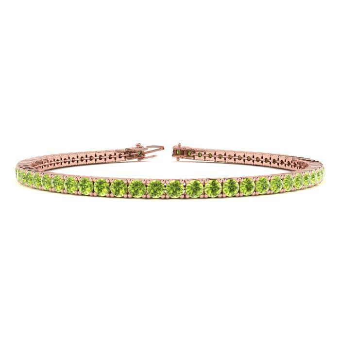 7 Inch 4 Carat Peridot Tennis Bracelet in 14K Rose Gold (9.4 g) b