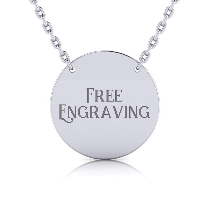 Sterling Silver Disc Necklace w/ Free Custom Engraving, 18 Inches