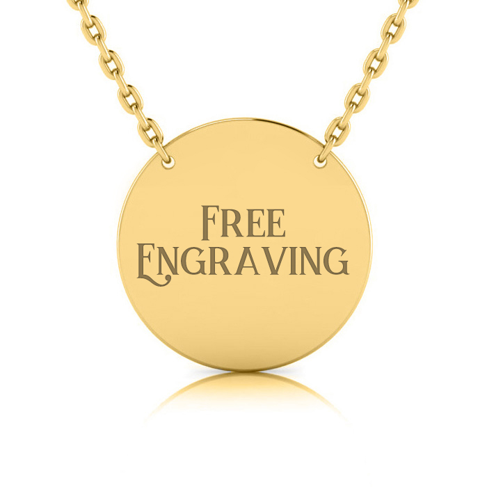 14K Yellow Gold (5.3 g) Over Sterling Silver Disc Necklace w/ Free Custom Engraving, 18 Inches by SuperJeweler