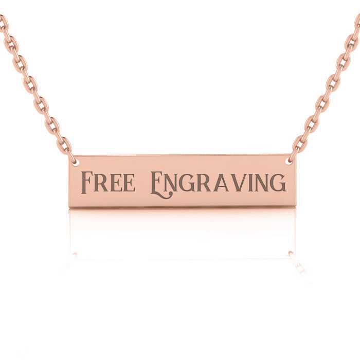 14K Rose Gold (4 g) Over Sterling Silver Bar Necklace w/ Free Cus