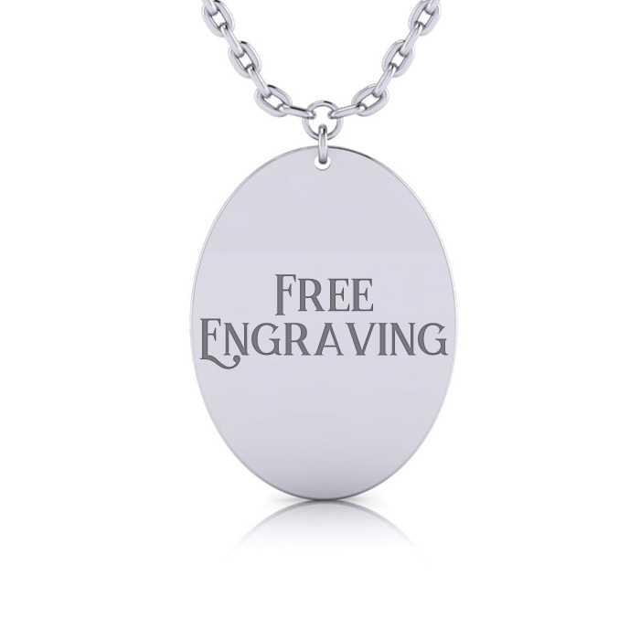 Sterling Silver Oval Disc Necklace w/ Free Custom Engraving, 18 I