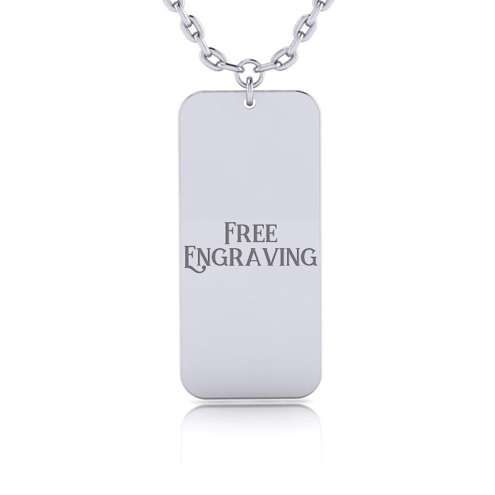 Sterling Silver Rectangular Tag Necklace w/ Free Custom Engraving