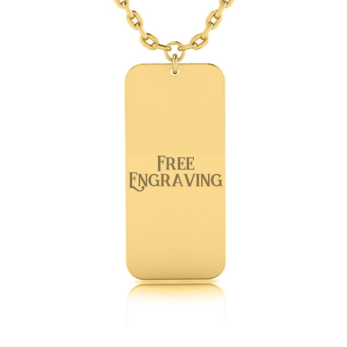 14K Yellow Gold (4.9 g) Over Sterling Silver Rectangular Tag Necklace w/ Free Custom Engraving, 18 Inches by SuperJeweler