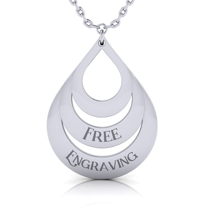 Sterling Silver Triple Teardrop Necklace w/ Free Custom Engraving