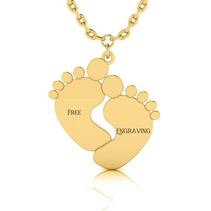 14K Yellow Gold (4.2 g) Over Sterling Silver Footprint Necklace w/ Free Custom Engraving, 18 Inches by SuperJeweler