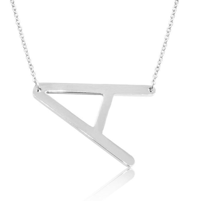 A Initial Sideways Necklace in Silver Overlay, 18 Inches by Super