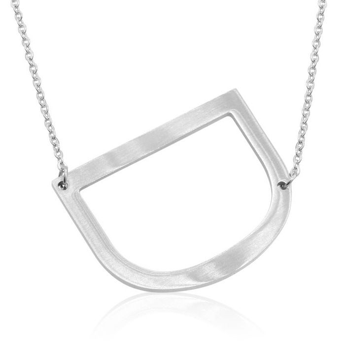 D Initial Sideways Necklace in Silver Overlay, 18 Inches by Super