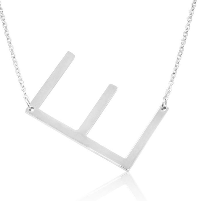 E Initial Sideways Necklace in Silver Overlay, 18 Inches by Super